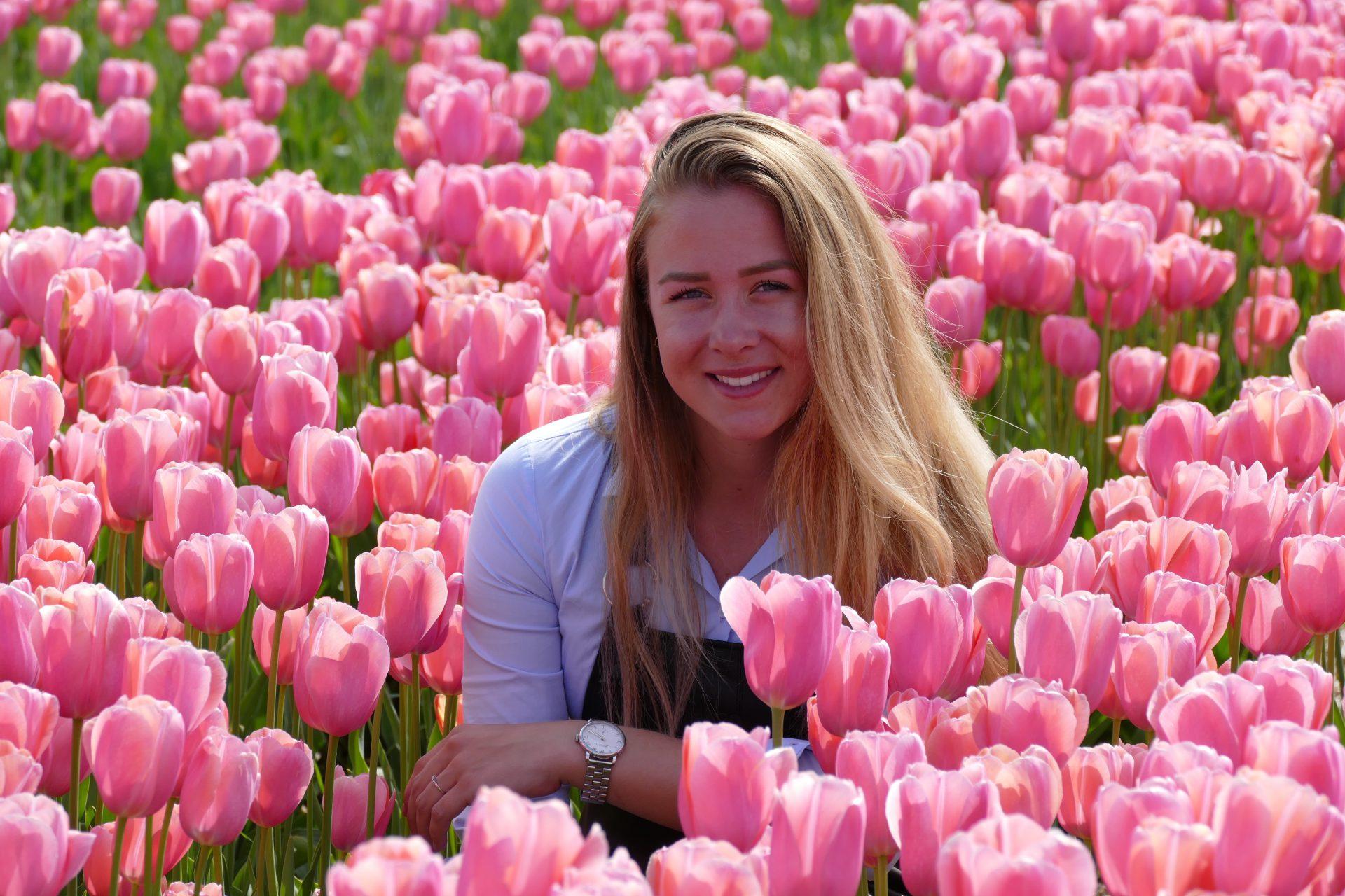 Selfie tussen de tulpen